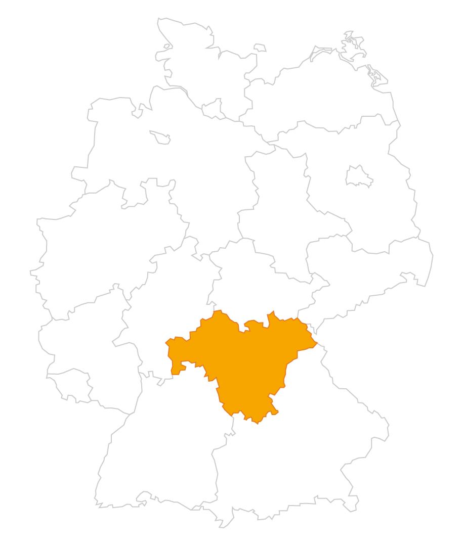 Karte der Region Franken
