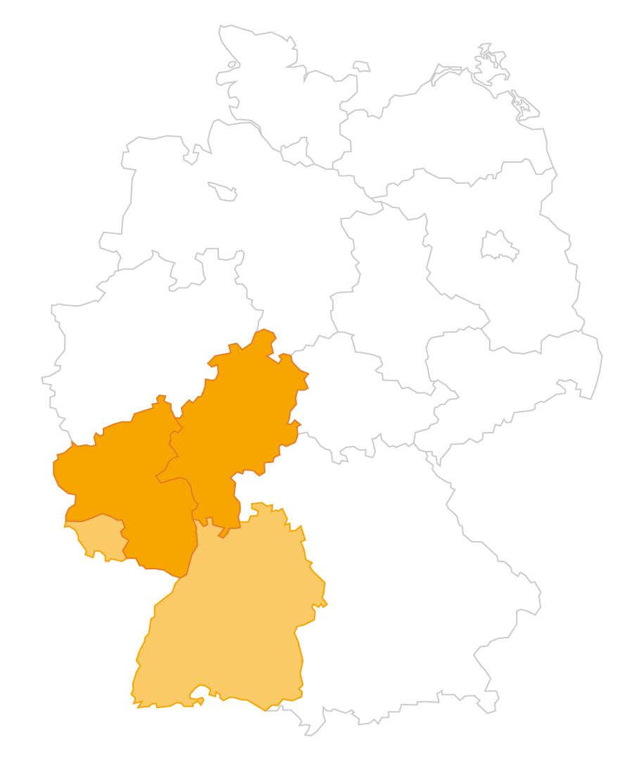 Karte der Region Hessen und Rheinland-Pfalz