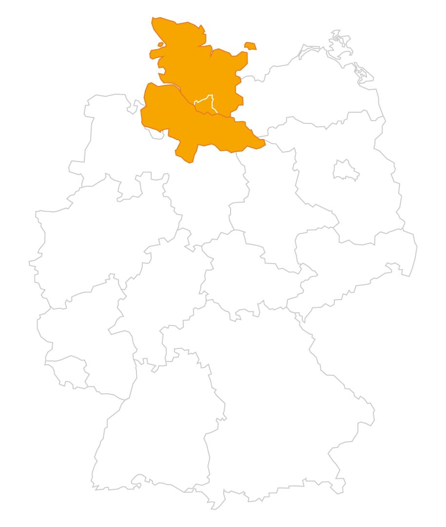 Karte der Region Nordniedersachsen und Schleswig-Holstein