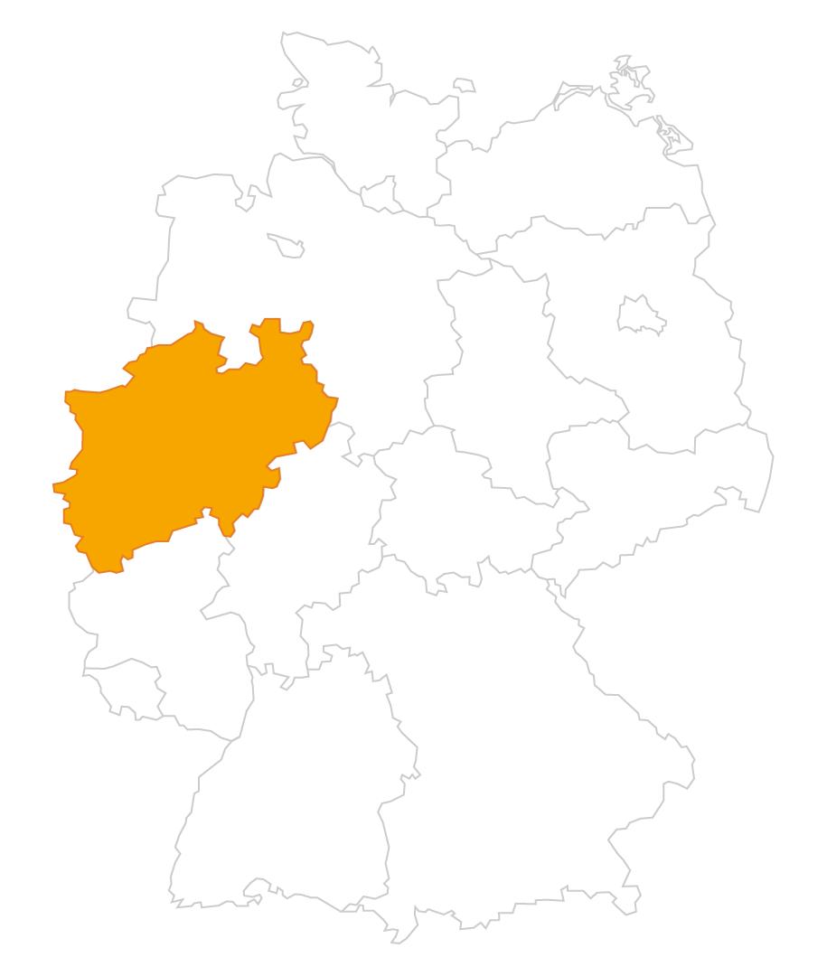 Karte der Region Nordrhein-Westfalen