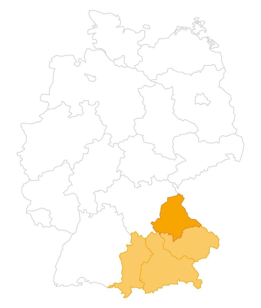 Karte der Region Oberpfalz