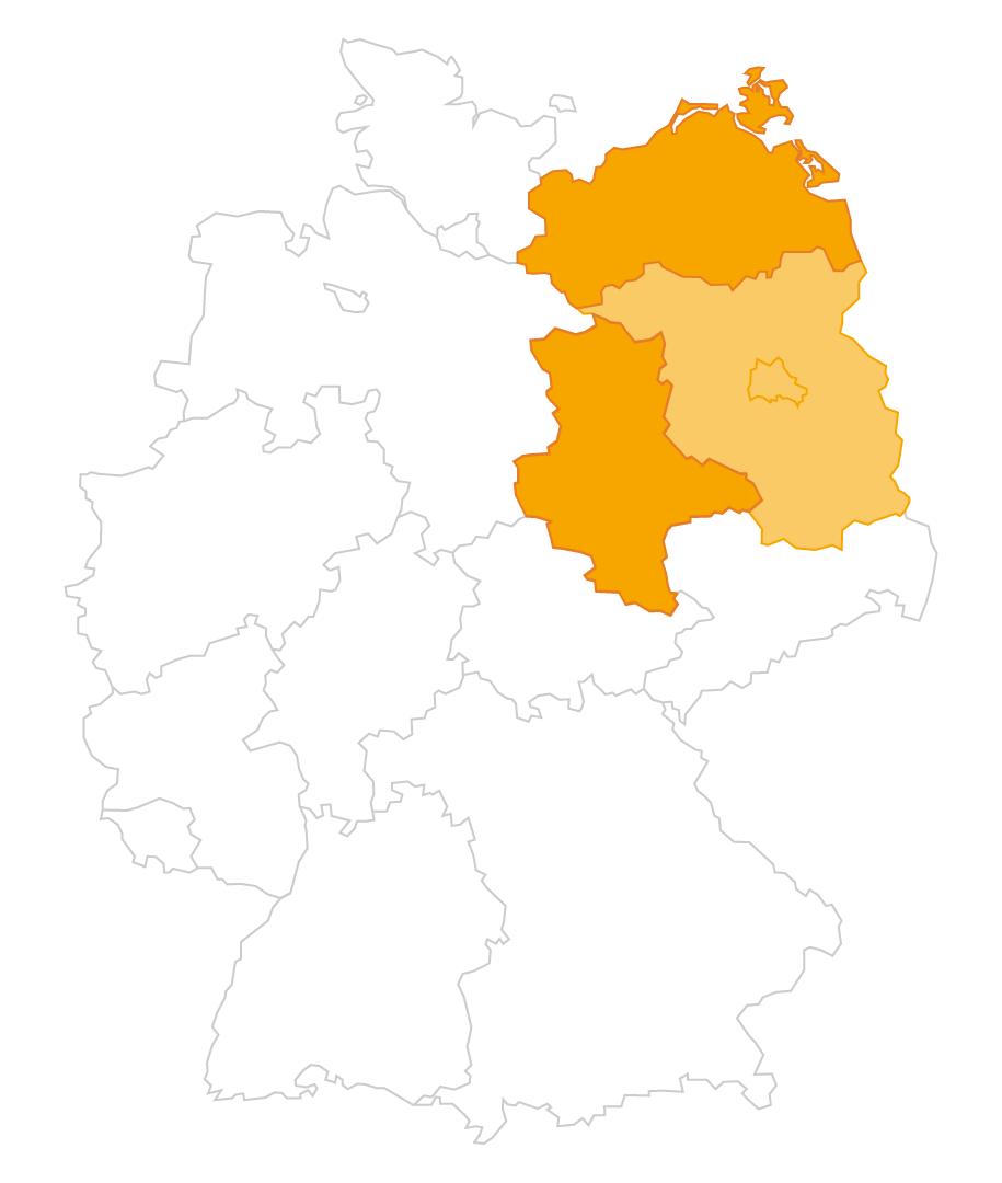 Karte der Region Sachsen-Anhalt und Mecklenburg-Vorpommern