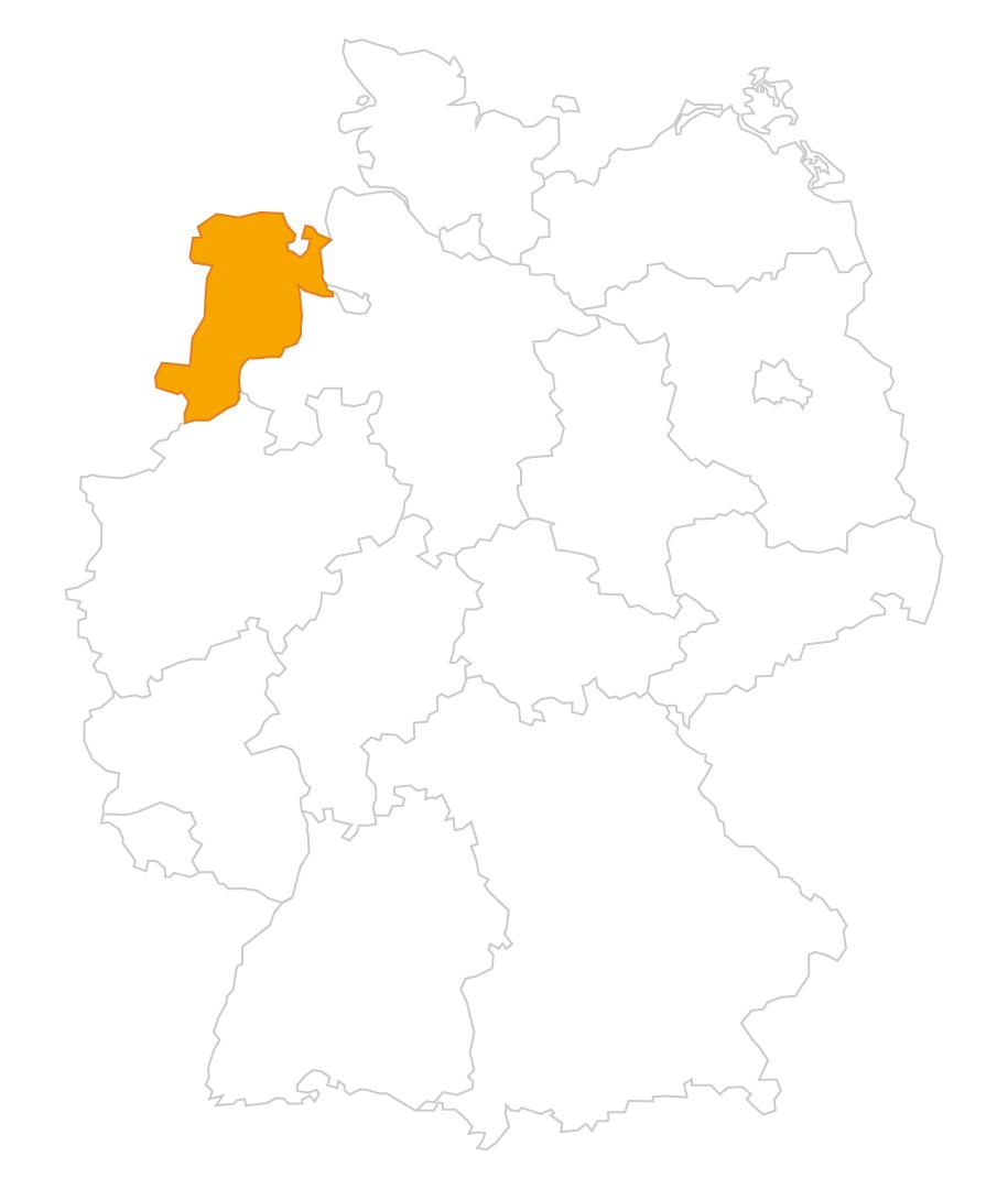 Karte der Region Westniedersachsen
