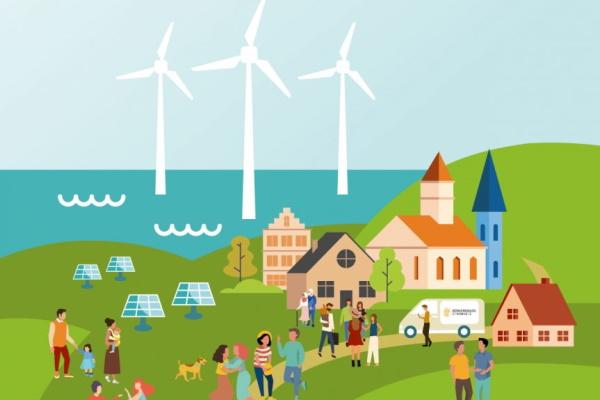Illustration eines kleinen Dorfes mit Windkraftanlage im Hintergrund